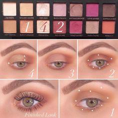 Makeup Eye Looks, Beautiful Eye Makeup, Natural Eye Makeup, Day Makeup, Eye Makeup Tips, Skin Makeup, Eyeshadow Makeup, Eyeshadow Palette, Eyeshadow Guide