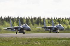 Two Japan Air Self Defense Force F-15 Eagles prepare to take off during RED FLAG-Alaska 14-2 June 16, 2014, Eielson Air Force Base, Alaska. RF-A is a realistic, 10-day air combat U. S. Air Force training exercise held annually at Eielson and Joint Base Elmendorf-Richardson Air Force Base, Alaska. (U.S. Air Force photo by Senior Airman Joshua Turner/Released)