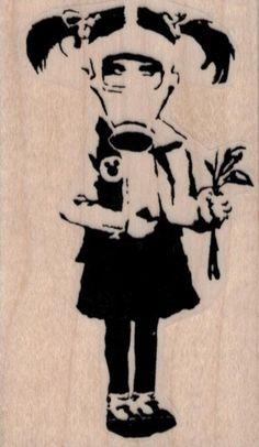 Banksy Gas Mask Flower Girl rubber stamps cling stamp unmounted or wood mounted 19434 craft scrapb Gas Mask Drawing, Gas Mask Art, Masks Art, Arte Banksy, Banksy Graffiti, Bansky, Banksy Artwork, Street Art Banksy, Star Wars Party