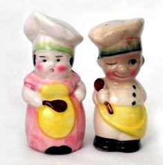 Vintage Japan Pair Man & Woman Chef Cook Boy Girl Salt & Pepper Shakers S/P