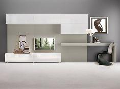 Parete attrezzata laccata con porta tv con scrittoio LALTROGIORNO 856 by TUMIDEI design Architetti associati Marelli e Molteni