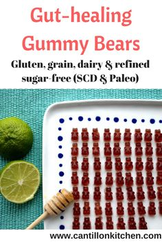 paleo-gut-healing-gummy-bears Specific Carbohydrate Diet, Gummy Bears, Tray Bakes, Sugar Free, Paleo, Lime, Healing, Snacks, Limes