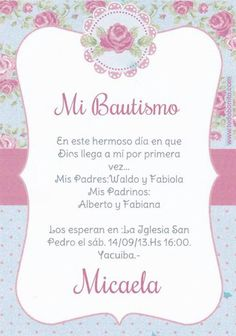 Tarjeta de invitacion Baptism Party, Boy Baptism, Baby Christening, Première Communion, First Communion, Baptism Invitations, Shower Invitations, Gift From Heaven, Baby Shawer