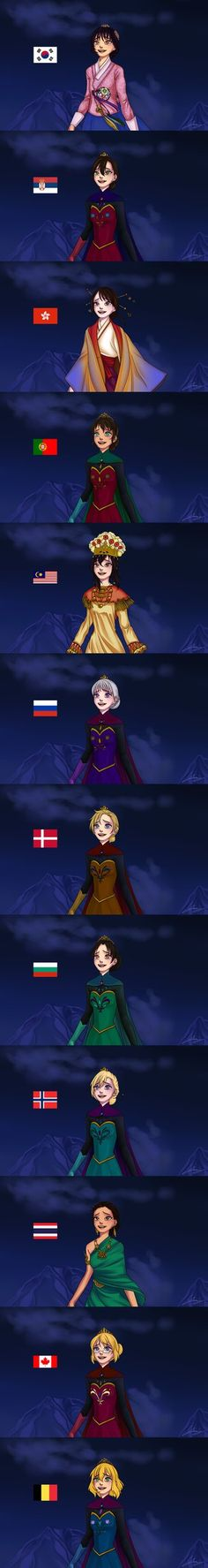 Elsa with different nationalities