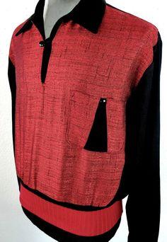 VINTAGE 1950's Atomic Two Tone FLECK/SPECK Rockabilly VLV Gaucho Shirt -LARGE-
