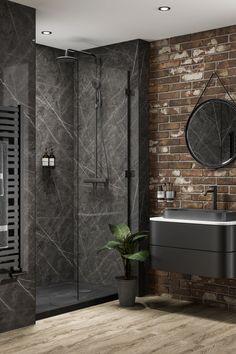 Black Marble Bathroom, Brick Bathroom, Bathroom Wall Panels, Modern Bathroom, Small Bathroom, Bathroom Ideas, Master Bathroom, Waterproof Wall Panels, Industrial
