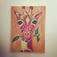 Giraffe Art, acrylic on canvas