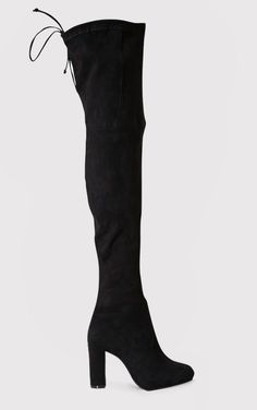 Black Faux Suede Heel Thigh Boots Don't miss out on a pair of ultra-sexy thigh boots this season...