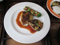 Cordon bleu de Veau facon au diable et courgette farci arlequin rosty de pommes de terre Gino D'Aquino