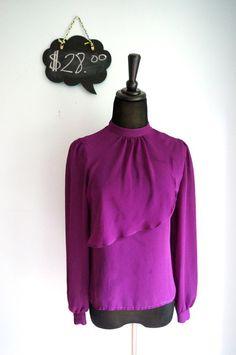 #Vintage Violet Overlay Sheer Blouse  - $28 #workchic