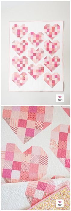 Scrappy Heart Quilt – Famous Last Words Quilting For Beginners, Quilting Tutorials, Quilting Designs, Heart Quilt Pattern, Patchwork Quilt Patterns, Quilt Baby, Star Quilts, Scrappy Quilts, History Of Quilting