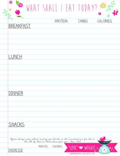 Printable Food & Exercise Journal...My favorite one I have found so far!
