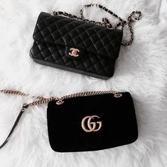 Black Gucci and Chanel bags