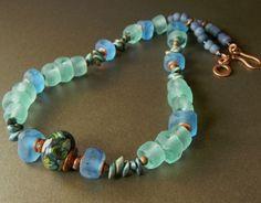 Aqua Recycled Glass Necklace Handmade OOAK | ChrysalisJewelry - Jewelry on ArtFire