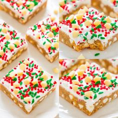 White Chocolate Christmas Blondies with Cream Cheese Frosting🎄😍🙌- SOFT, buttery blondies loaded with white chocolate, sprinkles, and tangy cream cheese frosting!! EASY and perfect for Christmas parties and holiday events!! Christmas Snacks, Christmas Cupcakes, Christmas Cooking, Christmas Parties, Winter Parties, Christmas Appetizers, Christmas Snowman, Christmas Christmas, Christmas Ideas