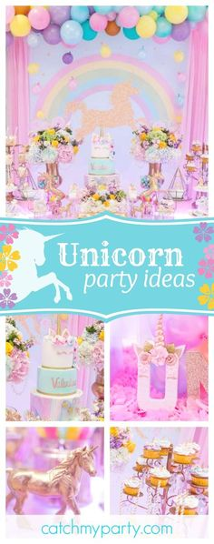 Take a look at this magical unicorn 2st birthday party. The cake is gorgeous!! See more party ideas and share yours at CatchMyParty.com