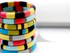 Colorblock Layered Bangles with Stripes Mix & Match Any 3 - no. 500. $65.00, via Etsy.