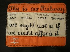 Craftivists held protest stitch-in at railway stations across the UK last weekend - Craftivist Collective High School Art, Middle School Art, A Level Textiles, Protest Art, Political Art, Political Events, Train Tickets, A Level Art, Art Lessons Elementary