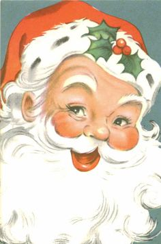 Sweet and charming vintage Christmas card! Front features an adorable smiling Santa Claus. Inside card reads: A Jolly Greeting To Wish You Vintage Christmas Images, Old Fashioned Christmas, Christmas Past, Retro Christmas, Vintage Holiday, Christmas Pictures, Christmas Crafts, Christmas Decorations, Father Christmas