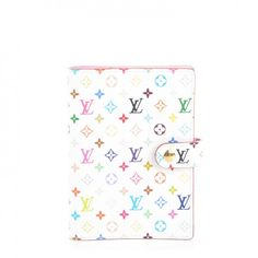 This is an authentic LOUIS VUITTON Multicolor Small Ring Agenda Cover in Blanc White and Litchi. This chic agendais crafted of Louis Vuitton Multicolor mini-monogram in 33 vibrant colors on white toile canvas.