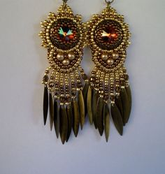 Bead embroidery earring Seed bead jewelry Cream Gold by Vicus, $30.00