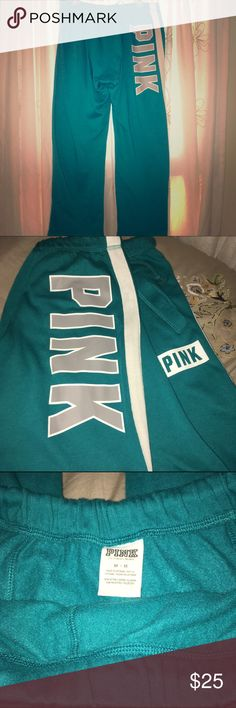 VS PINK Boyfriend Fit Sweatpants Awesome teal shade with gray logo. Oversized baggy fit. Excellent condition! So cute and comfy! Bundle to save an additional 25%! PINK Victoria's Secret Pants Track Pants & Joggers