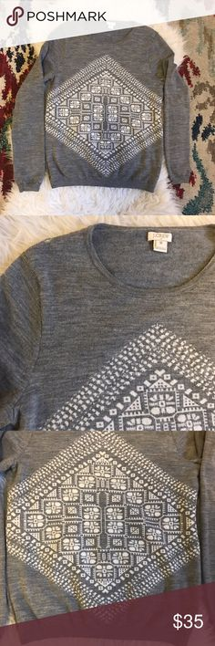 J. Crew Geometric Graphic Merino Sweater size M J. Crew Factory Geometric Graphic Merino Sweater size M. Worn once this sweater is like new! Super soft 100% merino wool that hits at the hip. No trades, thanks for looking! J. Crew Factory Tops Sweatshirts & Hoodies