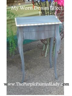 Old Violet Wax Glaze Worn Denim Also, how to get a super shiny, glass like finish with chalk paint Chalk Paint Finishes, Chalk Paint Colors, Annie Sloan Chalk Paint, Chalk Painting, Building Furniture, Types Of Furniture, New Furniture, Refinished Furniture, Furniture Refinishing