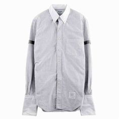 [G228]トムブラウン/THOM BROWNE/MWL180CW3816/メンズ/ストライプ/シャツ/長袖シャツ/グレー