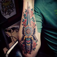 Traditional Dagger Tattoo On Arm Traditional Dagger Tattoo, Neo Traditional Tattoo, Body Tattoos, Tatoos, Tattoo Arm, Old School, Tatting, Tattoo Designs, Arms