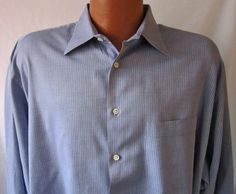 Georgio Armani Le Collezioni Men's Long Sleeve Shirt Grey Blue Stripe 17 34/35