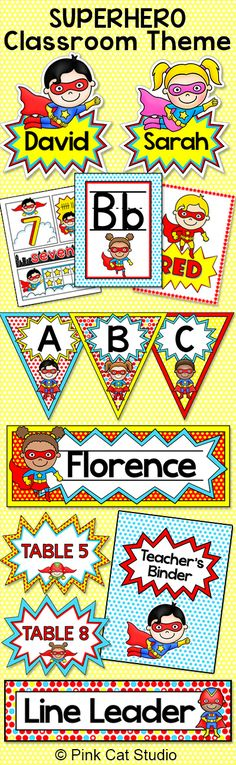 Superhero Classroom Theme Decor Bundle Name Tags, Name Plates, Classroom Jobs Create a fun and whimsical Superhero themed classroom with . Superhero School, Superhero Classroom Theme, Classroom Labels, Classroom Jobs, Classroom Organisation, Classroom Displays, Kindergarten Classroom, Classroom Activities, Classroom Decor