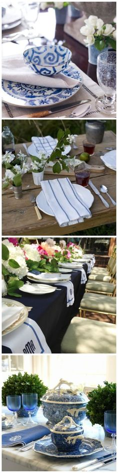 Blue and White Table Setting Ideas - Make a beautiful color-coordinated tablescape.