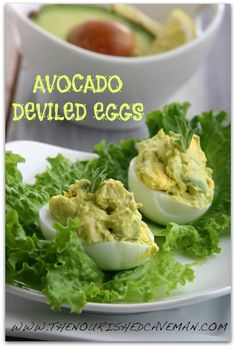 Avocado Deviled Eggs Recipe for Ketogenic Diet Week Meal Plan- Thursday day 5 | The Nourished CavemanThe Nourished Caveman