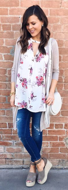 #spring #outfits  Grey Cardigan & White Flower Print Blouse & Ripped Skinny Jeans & Grey Suede Platform Sandals