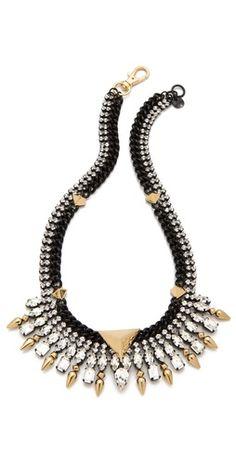 Juicy Couture Spike Collar Necklace with Rhinestones Metal Jewelry, Jewelry Box, Jewelery, Collar Necklace, Beaded Necklace, Gold Necklace, Bijou Box, Juicy Couture Necklace, Women's Accessories