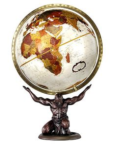 "Atlas holding up the world. 12"" Bronze metallic map desk top globe."