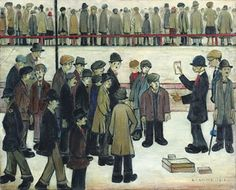 Manchester City vs Sheffield United by LS Lowry - The Independent Banksy, Nostalgic Art, English Artists, British Artists, Sheffield United, Smart Art, Manchester City, Football Pictures, Paintings
