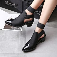 Chiko Lace Cut Out Block Heel Ankle Boots