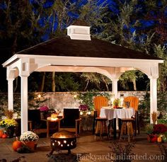10'x14' Traditional Vinyl Pavilion with Cupola--Vinyl clad Pavilion. Premium heavy-duty maintenance free structure for your backyard! http://www.backyardunlimited.com/pavilions.php