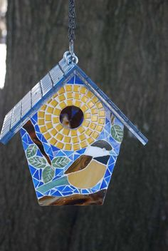 Birdhouse Stained Glass Mosaic Chickadee by NatureUnderGlass