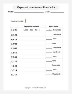 Expanded notation and Place Value of 4 digit numbers using thousands, hundreds,, tens and ones. Place Value Activities, Place Value Worksheets, Math Place Value, Place Values, Grade 5 Math Worksheets, 2nd Grade Math, Expanded Notation, Expanded Form, Sensory Words