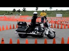 Police Officer Owns Motorcycle Skills course, this is an example of good clutch control and what lots of practice can accomplish.