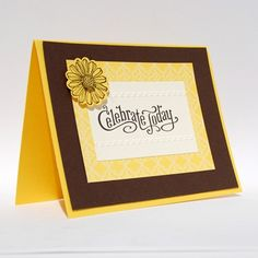 Handcrafted Birthday Celebrate Today Greeting Card Yellow Brown Flower | cardsbylibe - Cards on ArtFire