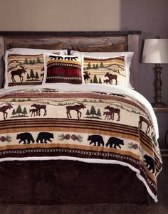 Carstens Cabin in The Woods 5 Piece Cotton Printed Quilt Bedding Set, Queen Rustic Comforter Sets, Rustic Bedding, Queen Bedding Sets, Bedroom Rustic, Country Bedding Sets, Rustic Quilts, Plaid Bedding, Striped Bedding, Chic Bedding