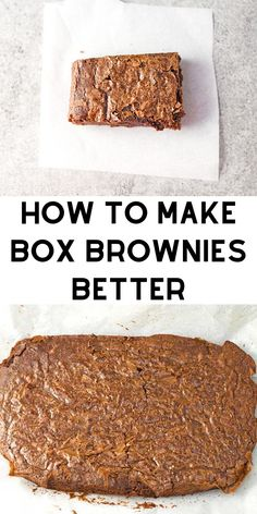 Box Brownies Hacks - Make boxed brownie mix taste like it came from a fancy bakery with these simple tips and additions. bars How To Make Box Brownies Better Köstliche Desserts, Chocolate Desserts, Delicious Desserts, Mint Chocolate, Chocolate Chips, Chocolate Brownie Cake, Italian Desserts, Health Desserts, Yummy Food
