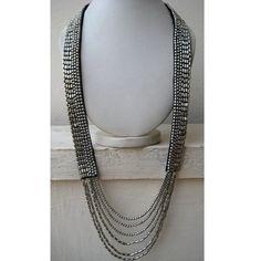 Silver Beaded Bohemian Necklace/Beadwork Necklace/Lariat Necklace/Statement Necklace/Bib Necklace/Chunky Necklace/Beaded Jewelry
