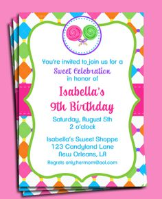 Candy Invitation Printable  Sweet Shoppe by ThatPartyChick on Etsy, $15.00