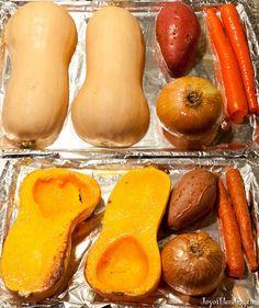 Roasting vegetables for Vitamix soup. Butternut squash, carrots, onions, potatoes