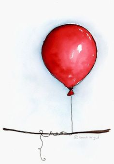 the movie of the red balloon as a child so we must have this in the hall Watercolor And Ink, Watercolour Painting, Watercolor Flowers, Watercolors, Balloon Illustration, Illustration Art, Balloon Painting, Red Tree, Red Balloon